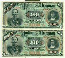 Uruguay 100 Peso 1887 Uncut Pair Remainders UNC Notes Fold Between