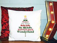 Personalized Decorative Cushion Cover Pillow Christmas Tree shape Words Joy