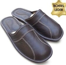 Herren LEDER Hausschuhe Pantoffeln Schlappen Latschen Dunkelbraun, Gr. 41- 48