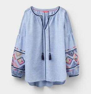 JOULES YOLANDA EMBROIDERED BLOUSE BLUE STRIPE