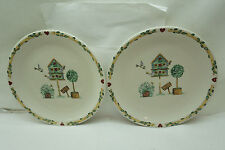 THOMSON POTTERY CHINA DINNER PLATES SET 2 BIRDHOUSE BIRD HOUSE PATTERN 10.25in d