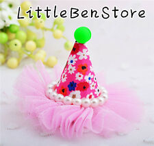 Pearl Lace Birthday Party Hat Girl Baby Hairpin Hair dress Fabric Kid Hair Clip