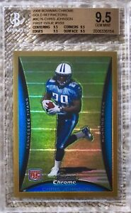 2008 BOWMAN CHROME GOLD REFRACTOR /50 CHRIS JOHNSON RC BGS 9.5 POP 3 SUBS