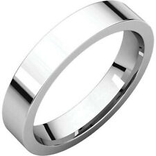4mm Solid 14K White Gold Plain Flat Style Comfort Fit Wedding Band Ring Size 7