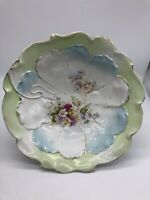 """Unmarked RS Prussia ? 10."""" molded BOWL flowers/design colorful"""