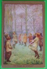 C.W.FAULKNER Postcard c.1915 CHILDREN PLAYING SIR ROGER DE COVERLEY
