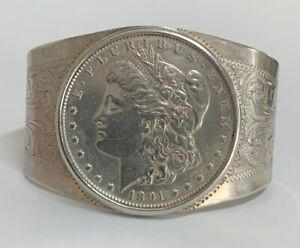 1891-S Morgan Silver Dollar Cuff Bangle Bracelet Sterling Silver 6.5""