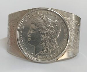 "1891-S Morgan Silver Dollar Cuff Bangle Bracelet Sterling Silver 6.5"""