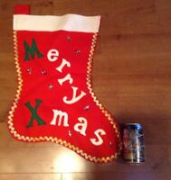 "Jumbo Christmas Stocking Red Felt Sequined Merry Xmas Vintage 20""  Handmade"