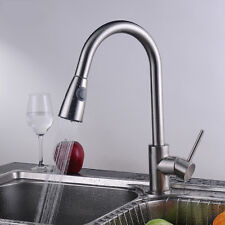 Brushed Nickel Pull Out Kitchen Sink Spray Hose Mixer Tap Monobloc Swivel Faucet