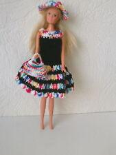 Puppenkleidung 3tlg.passend für Barbiepuppe Kleid,Hut + Tasche Handarbeit 6233