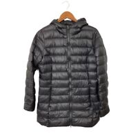 Eddie Bauer Womens Down Puffer Parka Jacket Black Hooded Coat Lined Zipper M