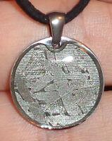 Genuine Meteorite Necklace! Sliced Seymchan Meteor in a Stainless Pendant!