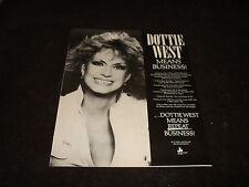 "DOTTIE WEST old Grammy, CMA, ACM winner's ad ""Dottie West Means Business!"""