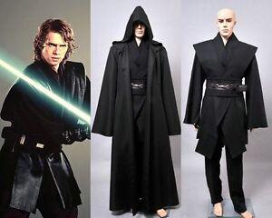 Dark Jedi Sith Darth Vader Adult Black Costume Cloak Robe Cosplay Wars Star