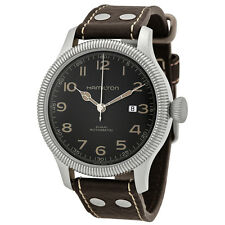 Hamilton Khaki Pioneer Black Dial Leather Strap Mens Watch H60515533