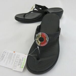 Crocs Sanrah Metalblock Wedge Flip Flops Sandals Thongs Women's 4 Black Gold NEW
