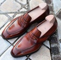 Handmade Men's Genuine Brown Leather Moccasins Formal Slip On Dress Shoes
