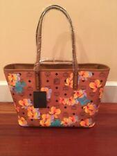 Authentic MCM Essentials Floral Print Cognac Top Zip Medium Tote Bag NWT