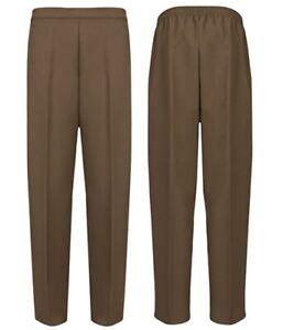 NEW Womens BROWN Half Elasticated Waist TROUSERS Ladies Casual Pocket Pants