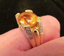 Fine 14k Laura Ramsey Large Oval Golden Citrine & Diamond Ring- 9.2 grams-Size 6