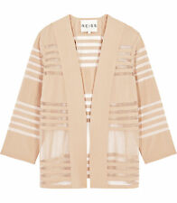 REISS CHRISTY NUDE SHEER MESH STRIPE COVER UP BLAZER JACKET XS 6 8 34 36 £110!