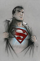 SUPERMAN - Pencil & Airbrush Drawing - Classic/Retro/50s Style - 12 x 18 Artwork