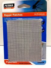 PERMA Adhesive FLYSCREEN Repair Patches 3 Patches 100mm x 80mm BLACK QUICK EASY