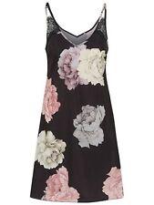 Women's Floral Print Chemise Nightdress Nighty nightwear Chemise UK size 8 black