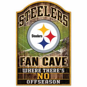 "PITTSBURGH STEELERS FAN CAVE HARDBOARD WOOD SIGN 11""X17"" NFL LICENSED USA SELLER"