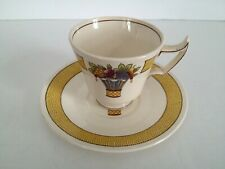 Wedgwood A6663 Directoire Yellow Band - Fruit Center Demitasse Cup & Saucer Set