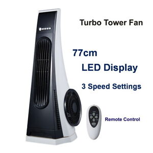 77cm Turbo Tower Fan Black & White with Remote