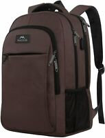 "Matein Men's Brown 15.6"" Anti-Theft Travel Laptop Backpack School Bag USB Port"