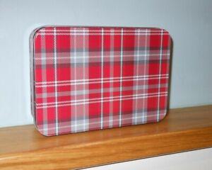 Red Christmas Tartan  Storage Tin Box  - Stocking Filler