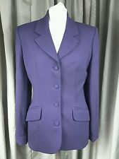 Karen Millen 100% Pure New Wool Purple Business Work Office Jacket UK12 EU40