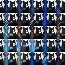 USA Blue Navy Solid Dots Stripped Mens Silk Tie Necktie Pocket Square Cufflinks