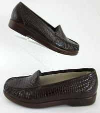 New! SAS Simplify Moccasin Loafers Brown Croc Leather Sz 6.5WW No Insoles