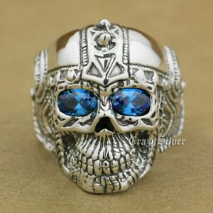 LINSION 925 Sterling Silver Gothic Tattoo Skull Ring Mens Biker Ring 9GX05A