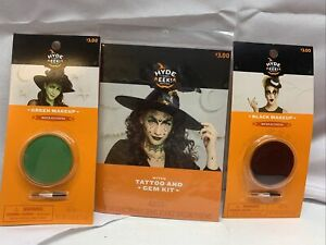 Witch Tattoo and Gem Kit with Green and Black MakeUp Halloween Accessory