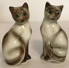 "Siamese Cat Salt and Pepper Shaker Set Rhinestone Eyes 4"" Tall Vintage Japan Z11"