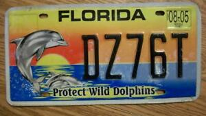 FLORIDA LICENSE PLATE - 2005 - DZ76T - PROTECT WILD DOLPHINS