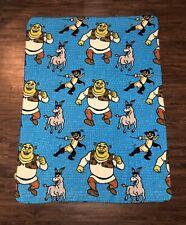 Vintage Shrek Movie Shrek Donkey Puss in Boots Light Fleece Throw Blanket Rare
