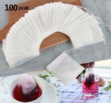 NEW 100pcs Disposable Tea Filter Bags Empty Tea Bags Drawstring Paper Tea Bag US