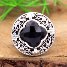 Checkered Black Onyx Gemstone 925 Sterling Silver Designer Ring Size US 7.5