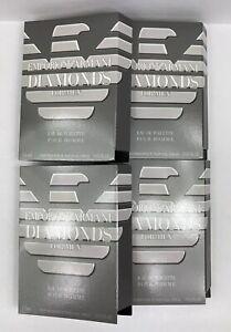 EMPORIO ARMANI DIAMONDS for MEN (4) .05fl.oz/1.5ml CARDED SPRAY SAMPLES