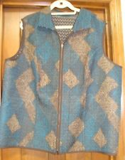 CJ Banks Womens 3X Reversible Quilted Vest Browns/Blues/White EUC