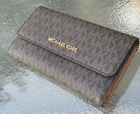 Michael Kors Jet Set Travel PVC Carryall Large Trifold  Wallet Brown MK Acorn