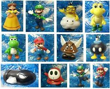 """Super Mario Brothers 12 Piece Holiday Christmas Ornament Set 2""""-3.5"""" Tall"""