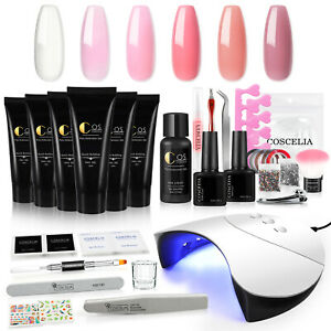 COSCELIA Poly Nail Gel Extension Starter Kit Slip Solution with LED Lamp Dryer