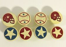 8 Drawer Knobs Baseballs Footballs Stars with screws.
